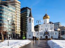 Church of St Nicholas at Tverskaya Zastava. MOSCOW, RUSSIA - JANUARY 25, 2019: people near Church of St Nicholas the Wonderworker at Tverskaya Outpost Church of royalty free stock image