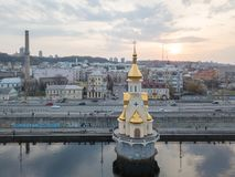 Church of St. Nicholas in the waters of the Dnieper. Kiev, Ukraine royalty free stock images