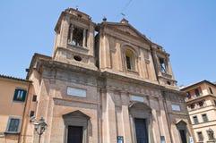 Church of St. Nicola. Soriano nel Cimino. Lazio. Italy. Perspective of the Church of St. Nicola. Soriano nel Cimino. Lazio. Italy Royalty Free Stock Images