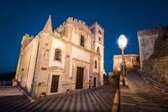 Church of St. Nocolo at night in Savoca, Sicily, Italy. The place where Godfather movie were filmed.  royalty free stock photography
