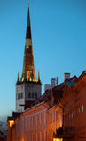 Church St Olaf at night in old Town of Tallinn Stock Photo