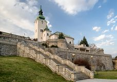 Church of St. Ondrej in Ruzomberok, Slovakia. Stairs and Church of St. Ondrej in town Ruzomberok, Slovakia stock photo