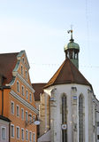 Church of St. Oswald in Regensburg. Bavaria. Germany Royalty Free Stock Photo