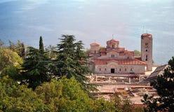 Church of St. Panteleimon, Ohrid, Macedonia. Holy historic church Saint Panteleimon founded by Clement on the coast of lake Ohrid in town Ohrid Macedonia Royalty Free Stock Photo