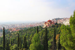 Church of St. Pavlo and Thessaloniki view, Greece Stock Photography