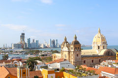 Church of St Peter Claver in Cartagena, Colombia. Historic city center, port and boca grande Royalty Free Stock Photo