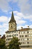 Church of St. Peter in Lindenhof  Quarter. Zurich. Switzerland Royalty Free Stock Photos