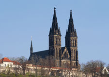 Church of St Peter and Paul. Vysehrad - second seat of the Bohemian princes and kings of the Premyslides dynasty, founded in the 10th cent. The original castle royalty free stock photography