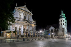 Church of St. Peter and Paul during the night in Krakow, Stock Photo