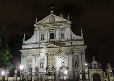 Church of St Peter & St Paul by night. The early Baroque Church of St. Peter and St. Paul and the statues of the twelve apostles on Grodzka in the city of Royalty Free Stock Photos