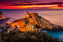 Church of St. Peter at sunset in Porto Venere Stock Photos
