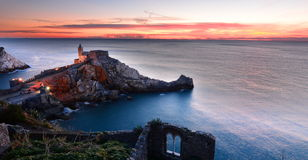 Church of St. Peter at sunset. Portovenere. Liguria, Italy Stock Image