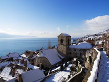 St. Saphorin at Lake Geneva in Winter Stock Photography