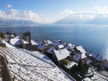 Saint-Saphorin at Lake Geneva in Winter Stock Images