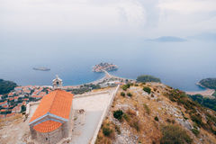 The Church of St. Sava, Montenegro, near the island of Sveti Ste Royalty Free Stock Images