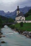 The Church of St. Sebastian against Reiter Alpe Stock Images