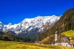 Church St. Sebastian by village of Ramsau in the bavarian Alps royalty free stock photo