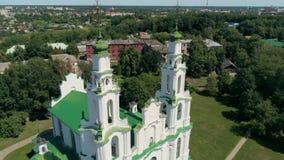 Church St Sophia in Polotsk, Belarus, Europe Aerial view of Orthodox Landmark. Cathedral of Saint Sophia in Polotsk, Belarus, Europe Aerial view of East Slavic stock footage