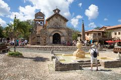 The Church of St Stanislaus. Altos de Chavón, La Romana, Dominican Republic: The Church of St Stanislaus. The Church of St Stanislaus was named after the patron Royalty Free Stock Photo