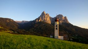 Church St. Valentin and mountain Schlern stock footage