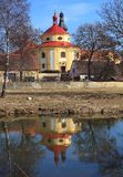 Church of St. Vitus in Dobrany City. Famous landmark. Baroque church of St. Vitus over Radbuza River in Dobrany City, Czech Republic, Europe Royalty Free Stock Photography