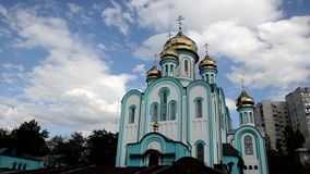 The Church of St. Vladimir in Kharkiv on the background of floating clouds stock video
