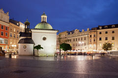 Church of St. Wojciech in Krakow at Night Royalty Free Stock Image