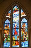 Church Stain Glass Window. Madrid Church stain glass window with religious scene depicted Royalty Free Stock Images