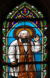 Church stained glass. Stained glass with sain image, Cathedral of Lujan, Argentina Stock Photo