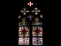 Church stained glass. The church glass of Barcelona Cathedral (Spain Stock Photo