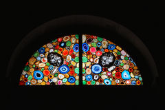 Church Stained Glass Window. With abstract pattern in Zurich,Switzerland Royalty Free Stock Images