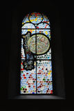 Church Stained Glass Window. With abstract pattern in Zurich,Switzerland Royalty Free Stock Photos