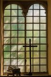 Church Stained-glass Window, The Holy Bible and Wooden Cross.  Stock Photos