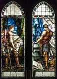 Church stained glass window. Stained glass window knights , horse, altar, engravings Royalty Free Stock Images