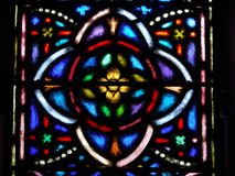 Church: stained glass window quatrefoil design stock images