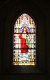 Church stained glass window. In the church of St. Jakub - Kutna Hora royalty free stock image