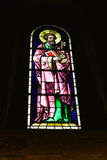 Church Stained Glass Window. The Stained Glass Window in the church of Zurich,Switzerland Royalty Free Stock Photos