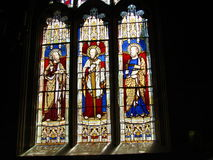 Church stained glass windows. Colorful stained glass windows in church with black background Stock Images