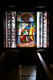 Church Stained glass windows. Jeshua Christ Church stained glass windows Stock Photo