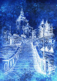 Church and staircaise, pencil drawing on paper, nocturnal background. Church and staircaise, pencil drawing on paper, nocturnal background Royalty Free Stock Photo
