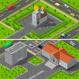 Church State Edifice Isometric 2 Banners Royalty Free Stock Image