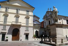 Church and statue, Novara Royalty Free Stock Image