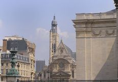 Church of Ste Etienne Paris. St Etienne church and surrounding roofs of Paris royalty free stock photo