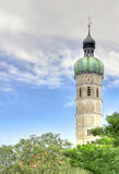 Church Steeple. A chutch steeple DRI with clouds and trees Royalty Free Stock Photography