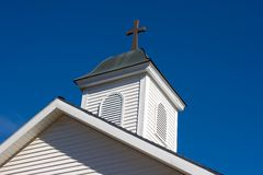 Church Steeple. Against a Blue Sky Royalty Free Stock Image