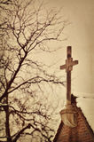 Church Steeple. Against a cloudy winter sky Royalty Free Stock Image