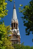 Church steeple. Details of an old, decorative church or cathedral steeple Royalty Free Stock Photography