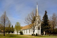 Church with steeple. Small cute white church in Carson City,  Nevada with steeple Royalty Free Stock Image