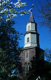 Church Steeple. The steeple of this old church reaches far into the sky Royalty Free Stock Photo