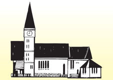 Church with steeple. Cartoon illustration of church with steeple or spire Royalty Free Stock Images